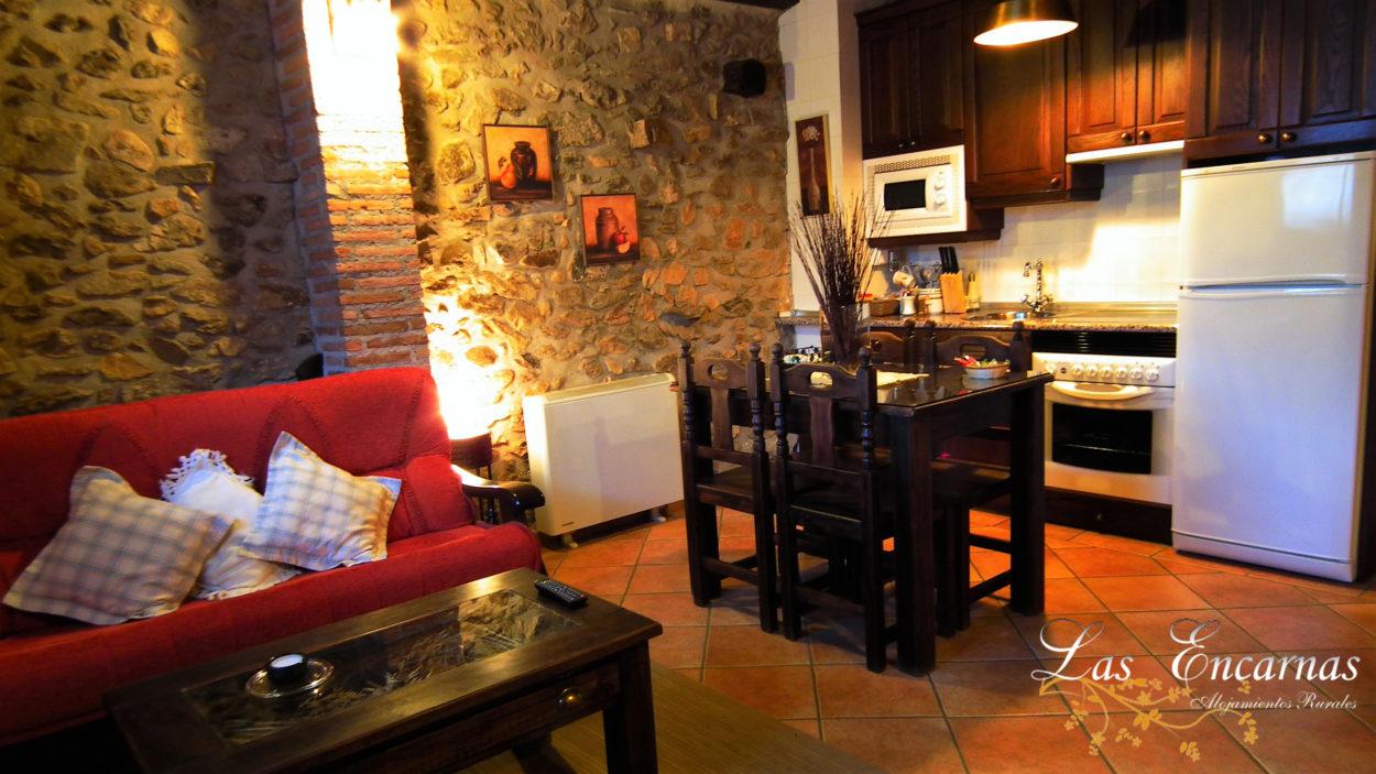 salón,comedro, cocina, chimenea, microondas,nevera, horno, calefacción